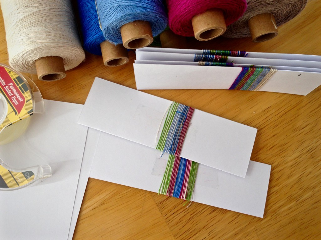 Making color-wrapped cards for planning linen warp.