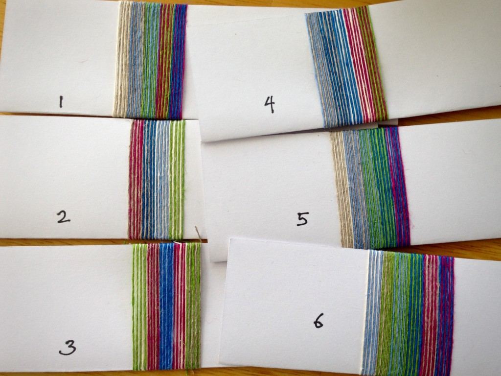 Color wrapping to plan linen warp.
