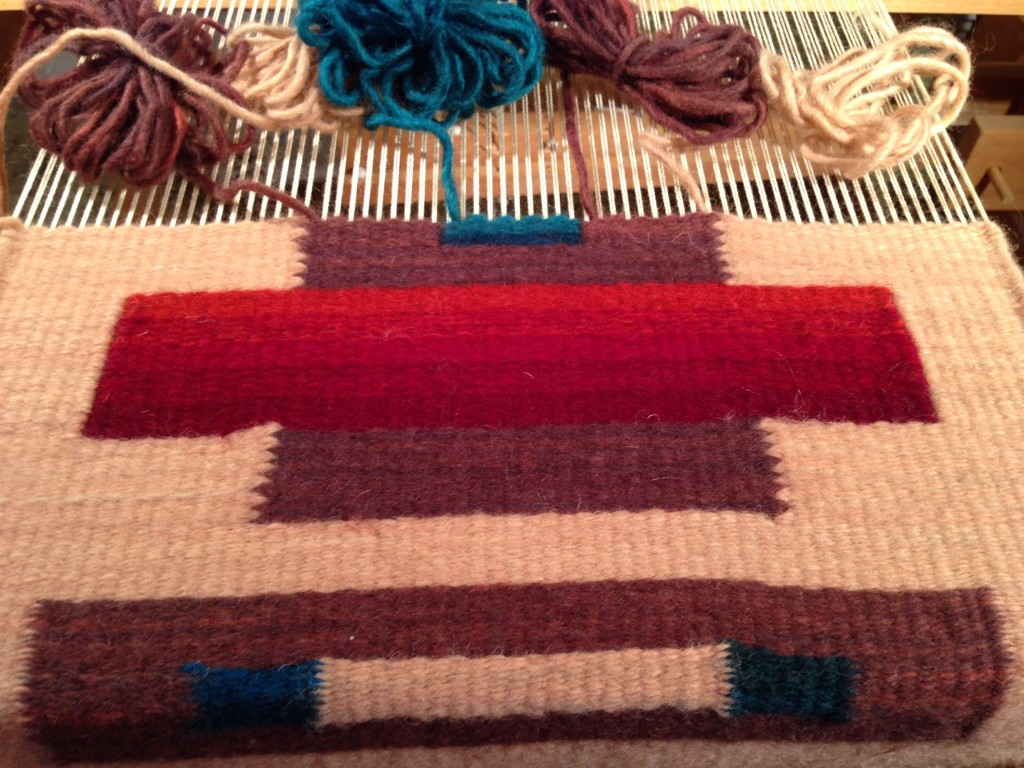 Color gradations in tapestry class at Weaving Southwest.
