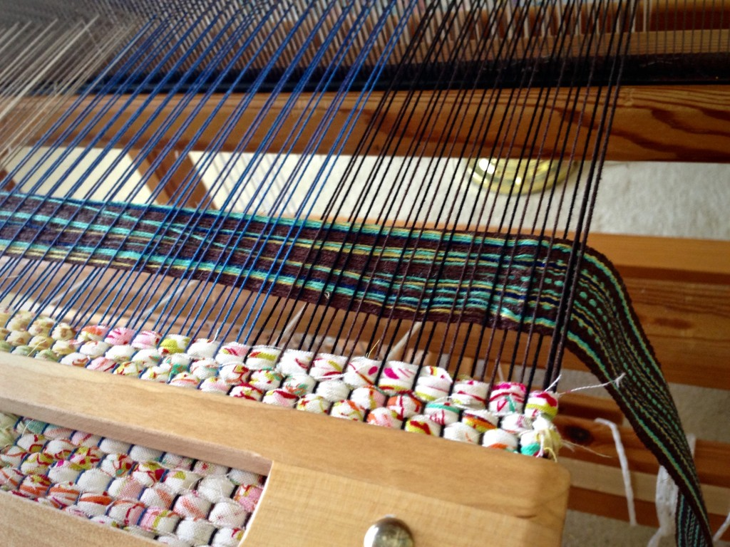 Steps for weaving handle into rag weave bag.
