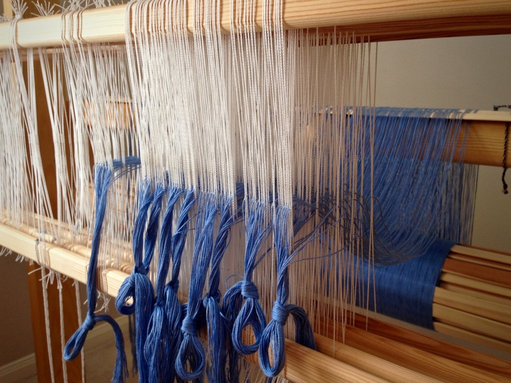 Threading heddles with Bockens 8/2 cotton.