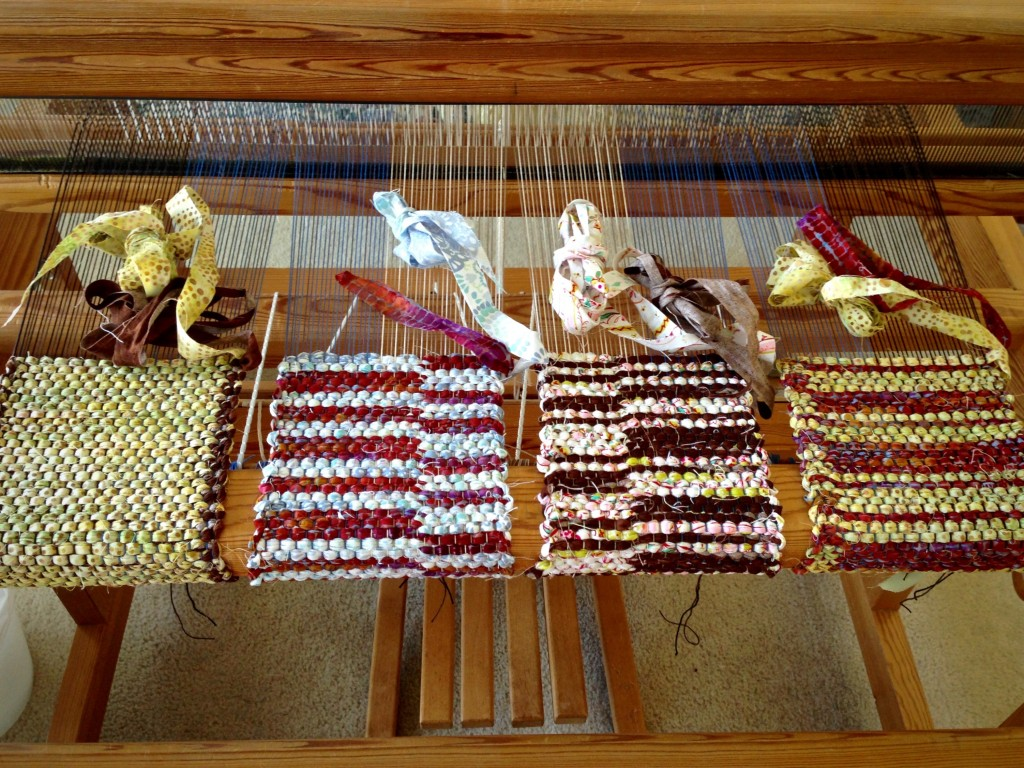 Four mini rag rugs on the loom. Draw in was a problem.