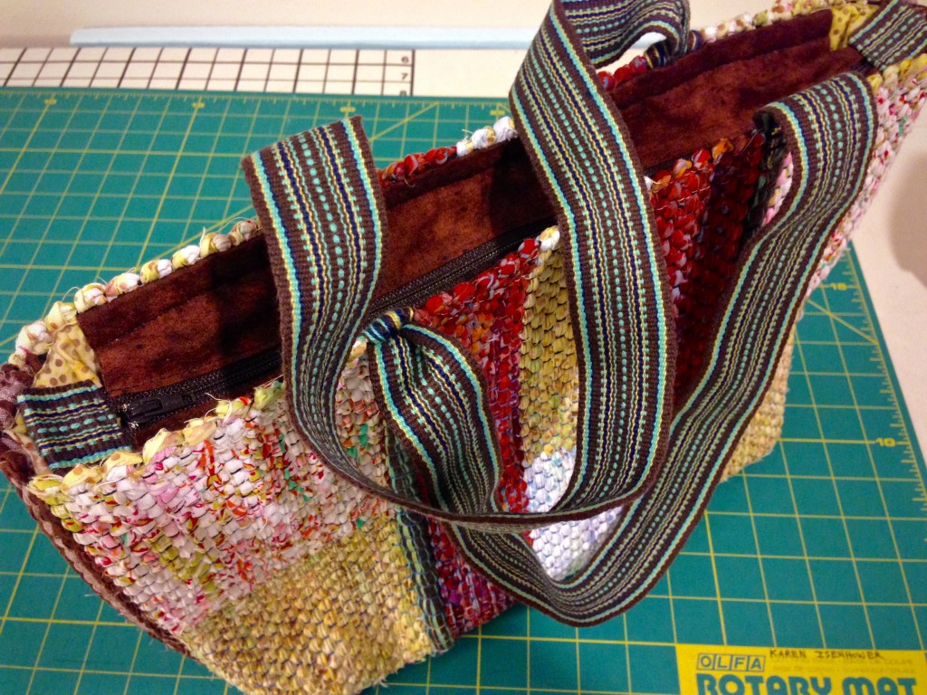 Handwoven bag with custom lining. Karen Isenhower