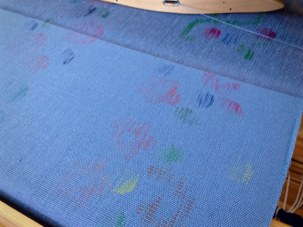 Weaving a warp that is painted on the loom.