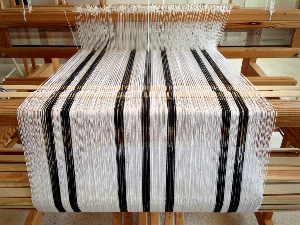 Zebra warp on Glimakra Ideal loom.