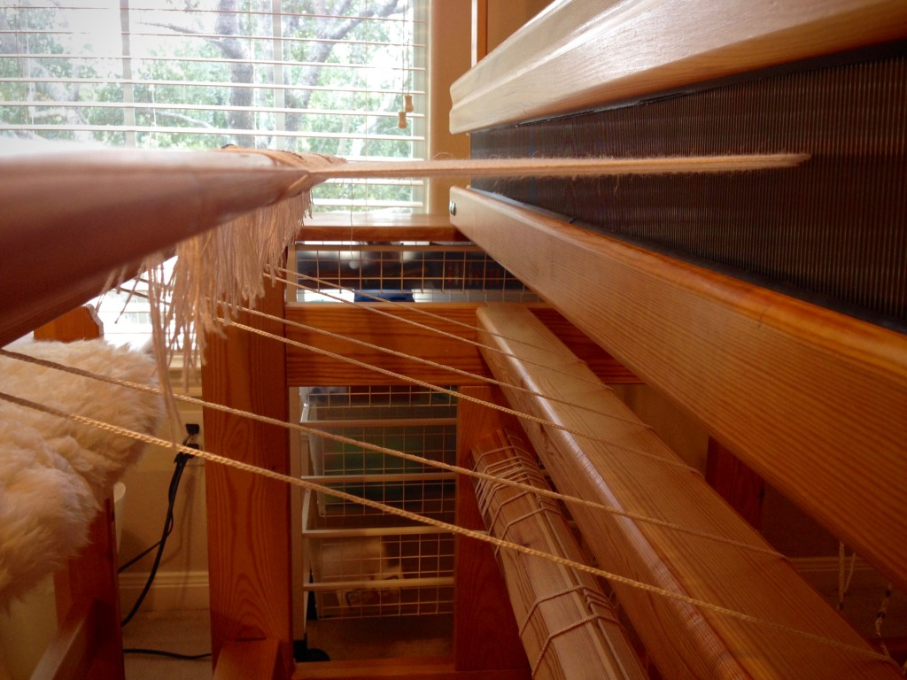 New cottolin warp, set up for halvdräll table squares.