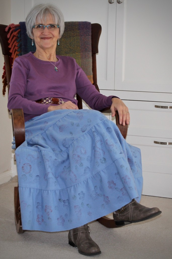 Handwoven printed tiered skirt. Karen Isenhower