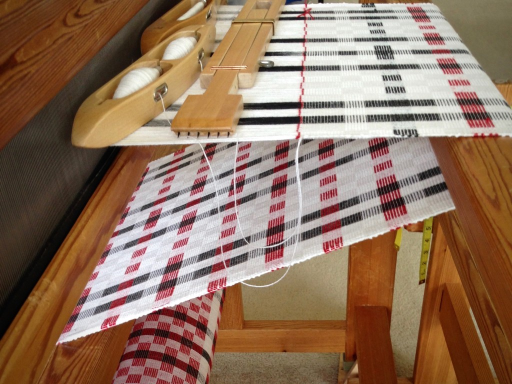 Cottolin towels on the loom. Karen Isenhower