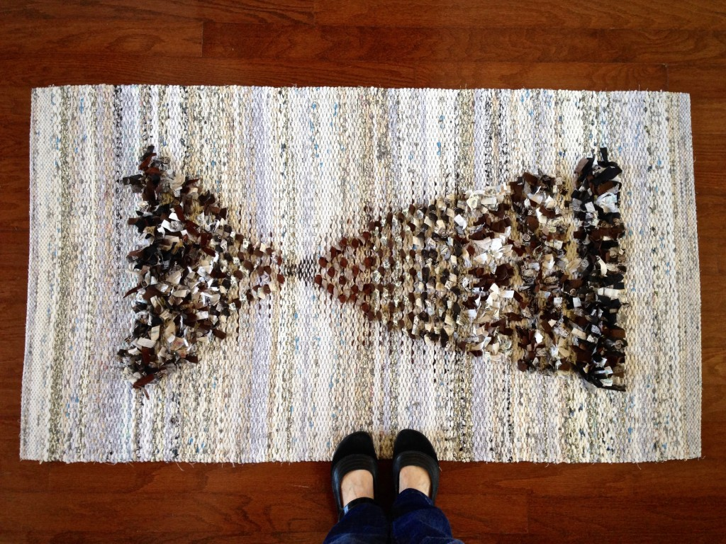 Rag rug with rya and loops. Karen Isenhower