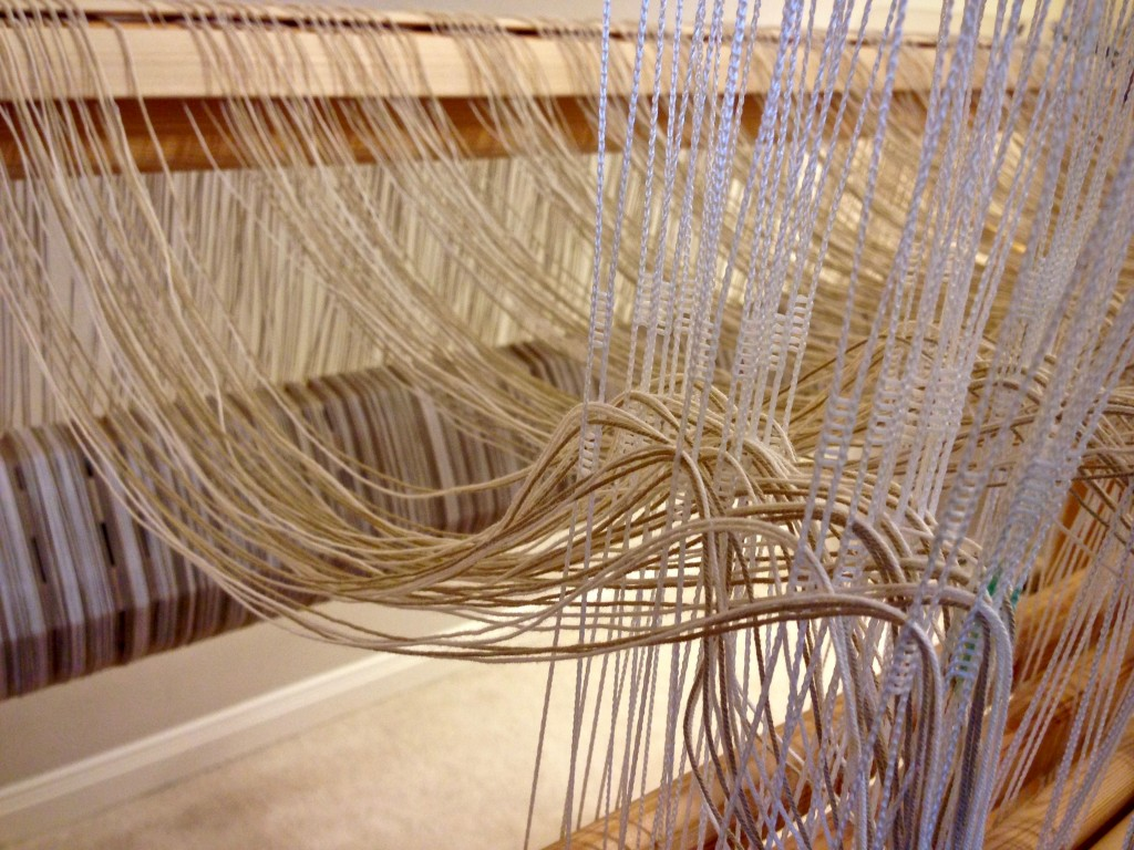 Selvedge threading for rag rug on Glimakra Standard loom.
