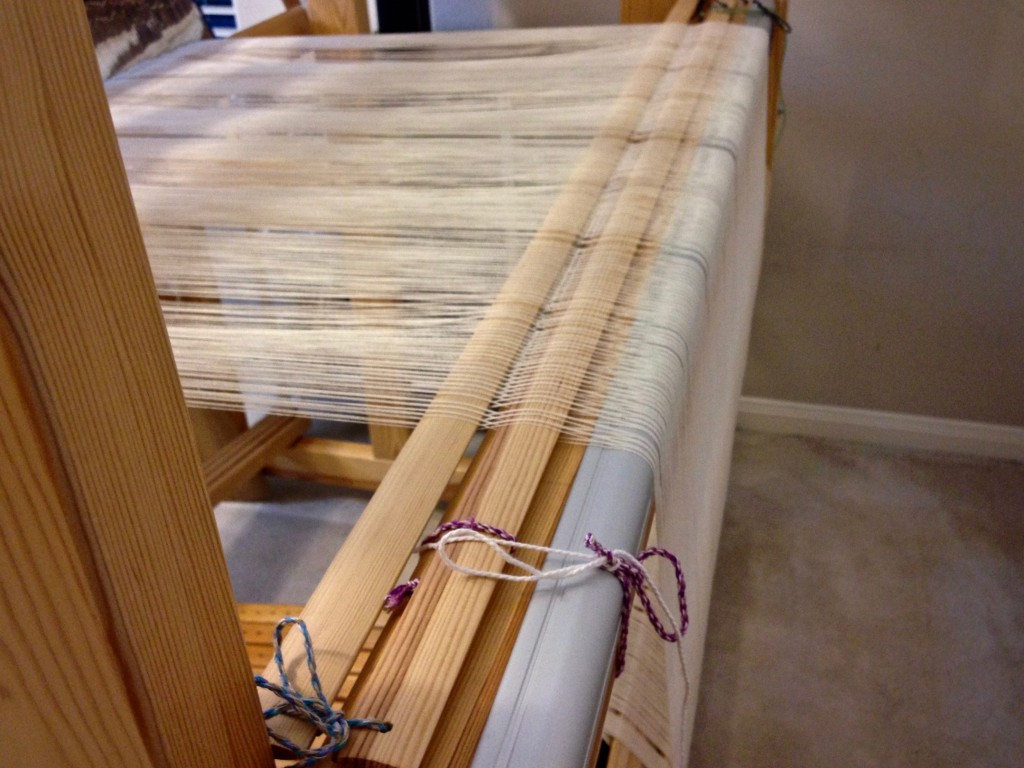 Tie the lease sticks to the back beam before cutting the ends.