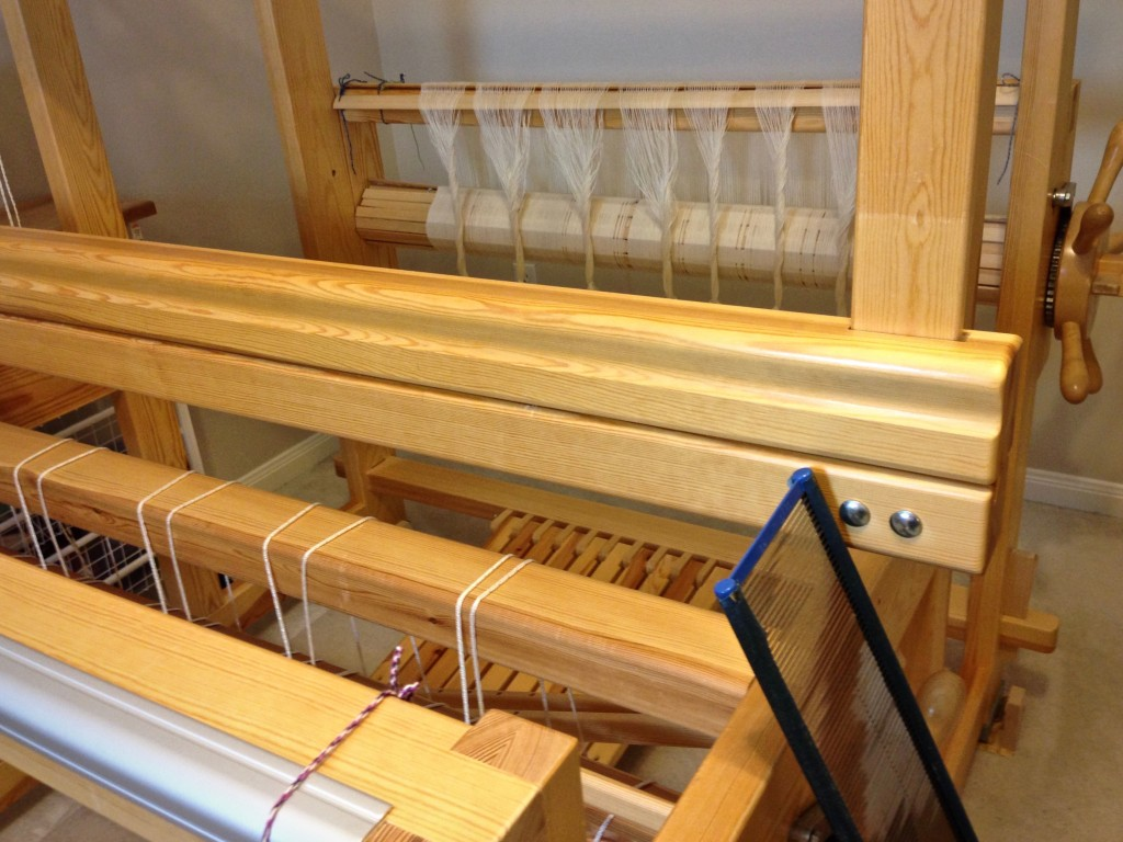 New warp of 16/2 cotton for monksbelt on weft rep.