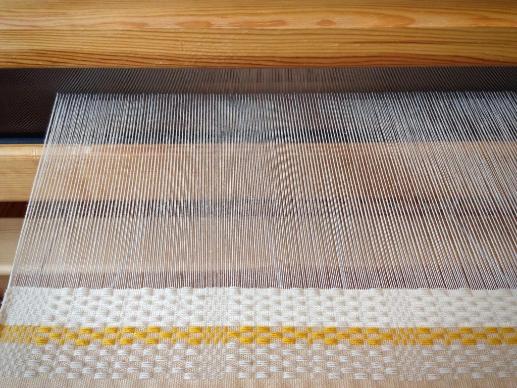 Monksbelt on the loom. Wool and cotton. Karen Isenhower