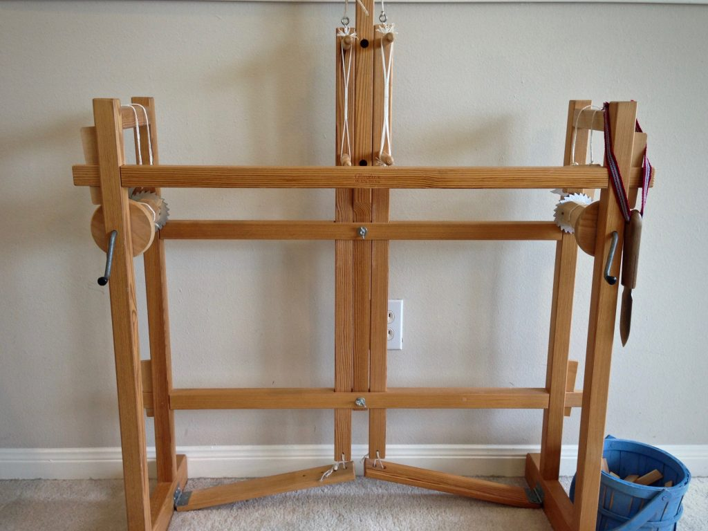 Glimakra two-treadle band loom. How to warp and weave.