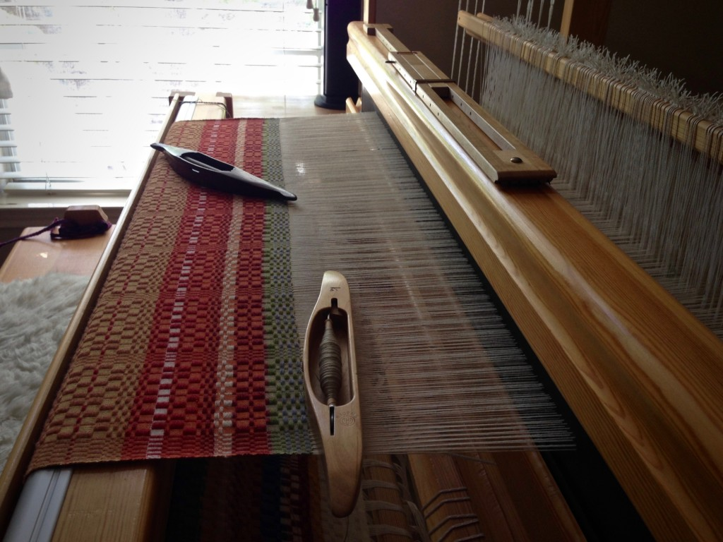 Monksbelt on the loom in the late afternoon.