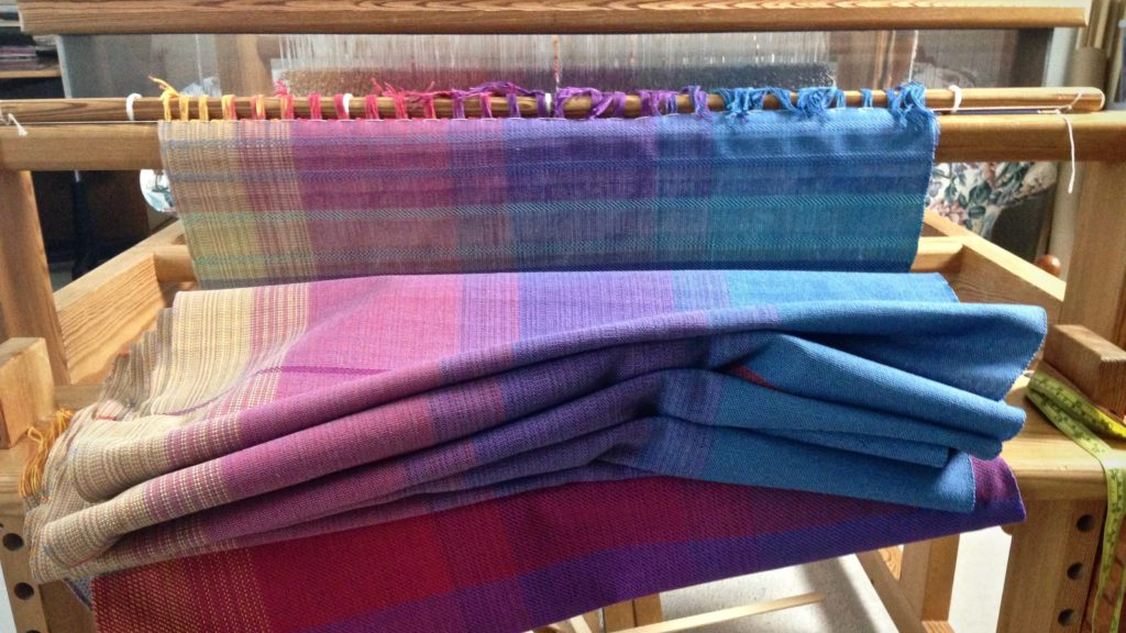 Woven baby wrap ready to be cut from the loom! Karen Isenhower