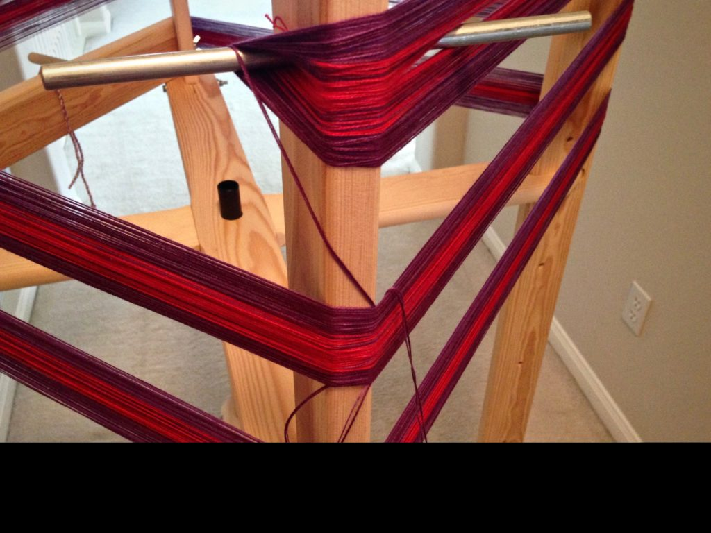Winding warp for colorful baby wrap.