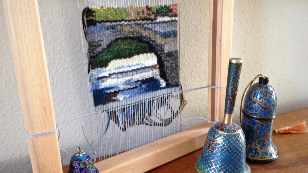 Small tapestry - Bridge scene, nearing completion.