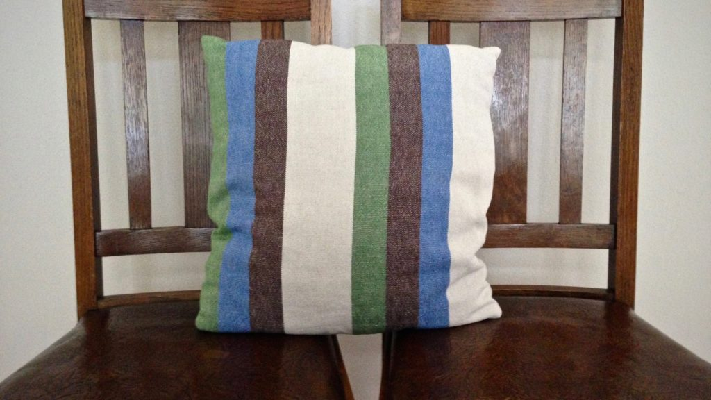 Cotton and linen cushion. Handwoven fabric.