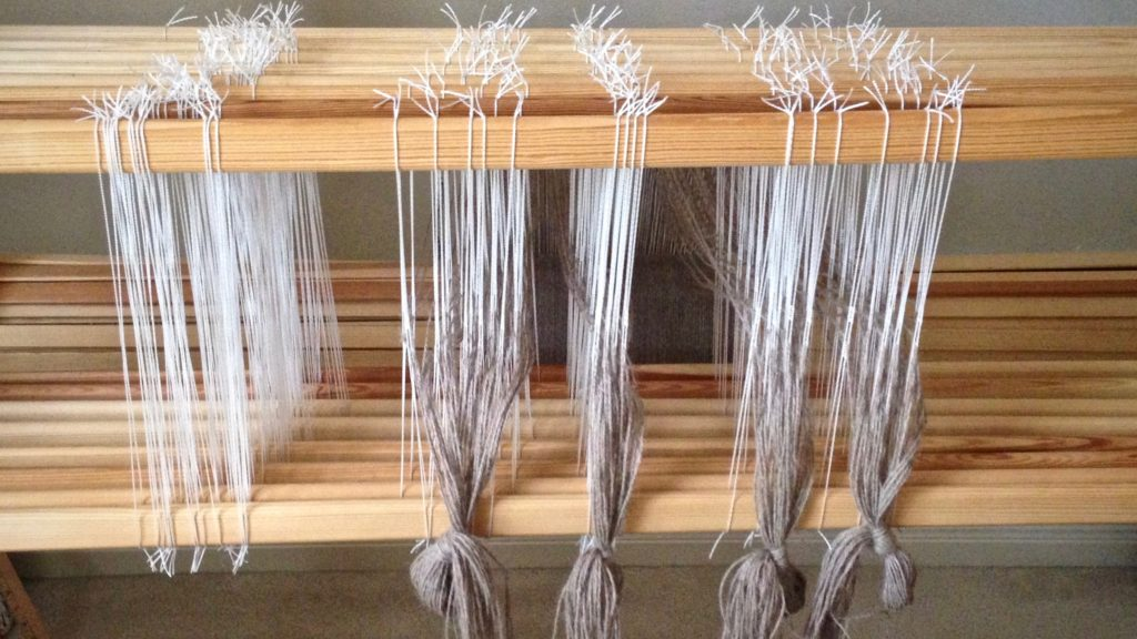 Threading complete for alpaca scarves. Texsolv heddles.