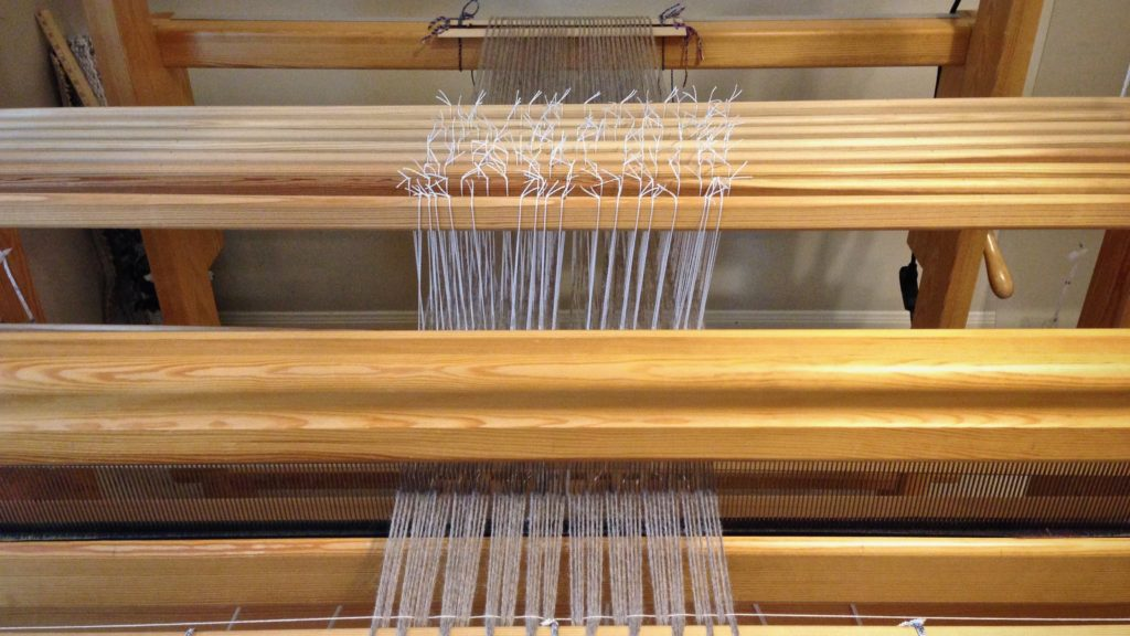 Alpaca warp, ready for countermarch tie-up without back strain.