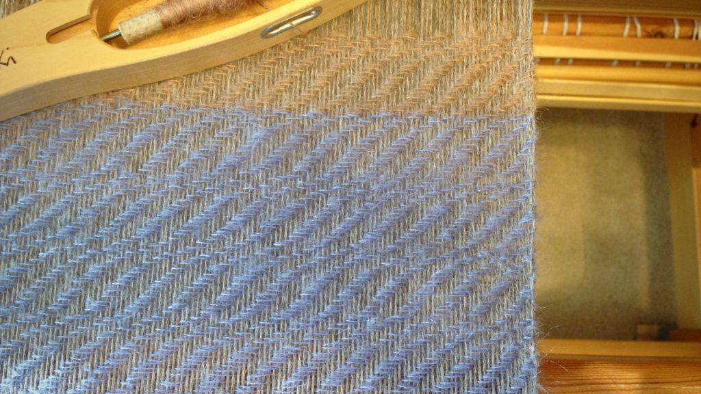 Lavender mohair/silk weft on alpaca warp.