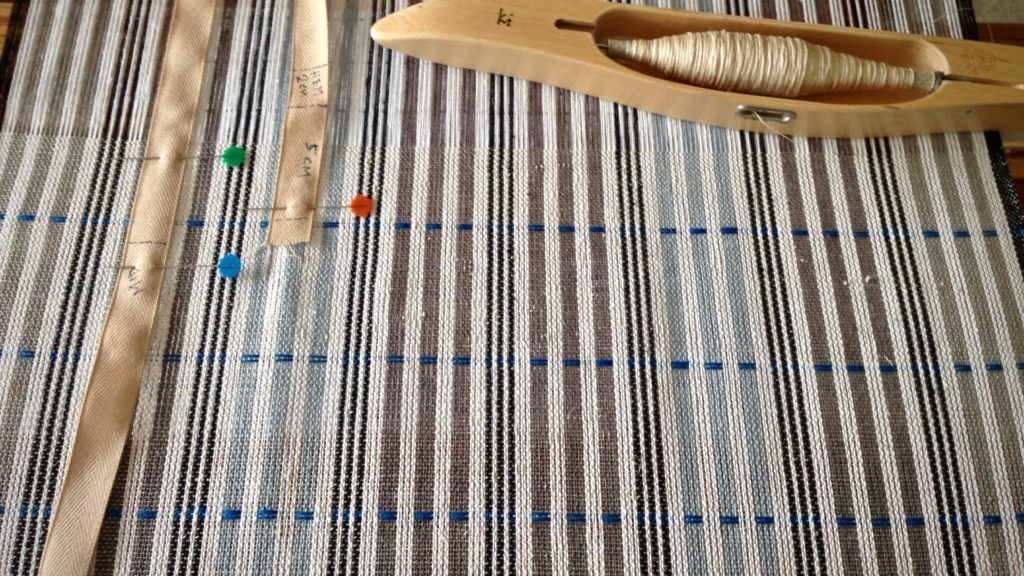 Blue linen pattern weft.