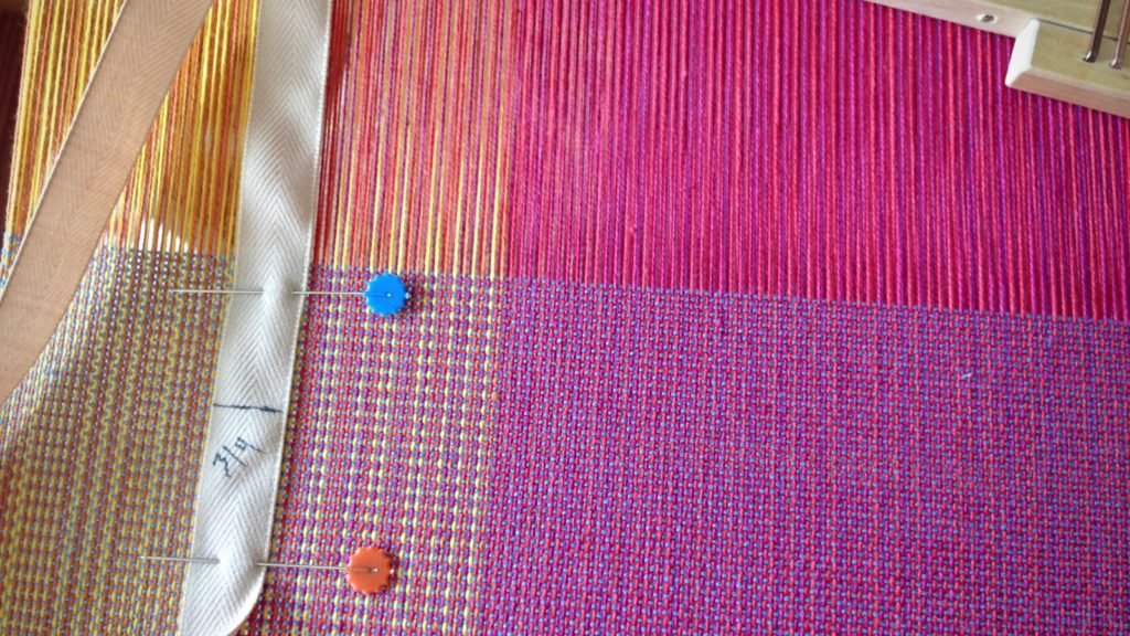 Pre-measured twill tape helps set the pace for the weaving project.
