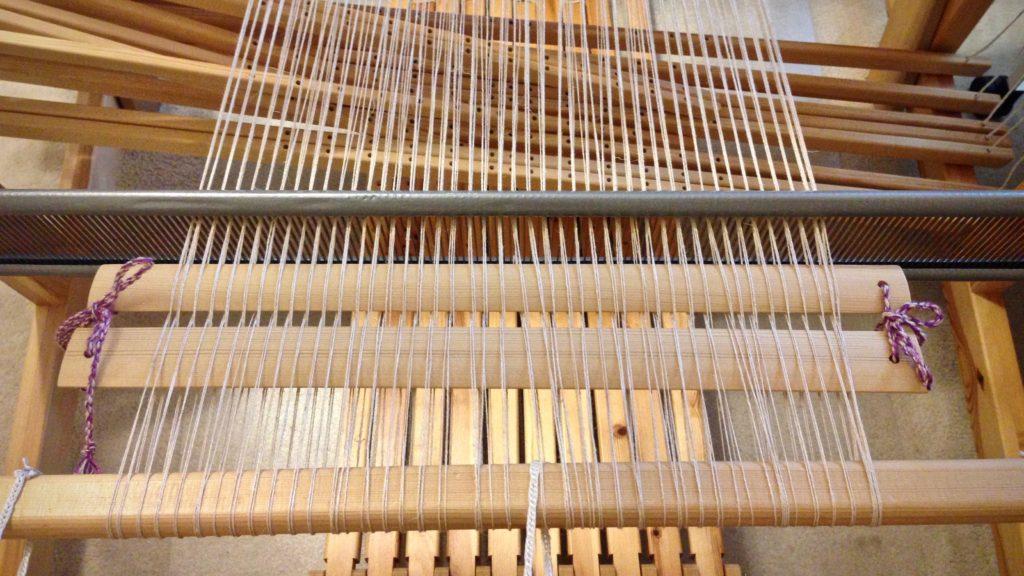 Lease sticks behind the beater. Linen warp.