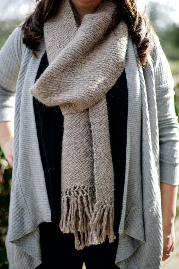 Handwoven undulating twill alpaca scarf.