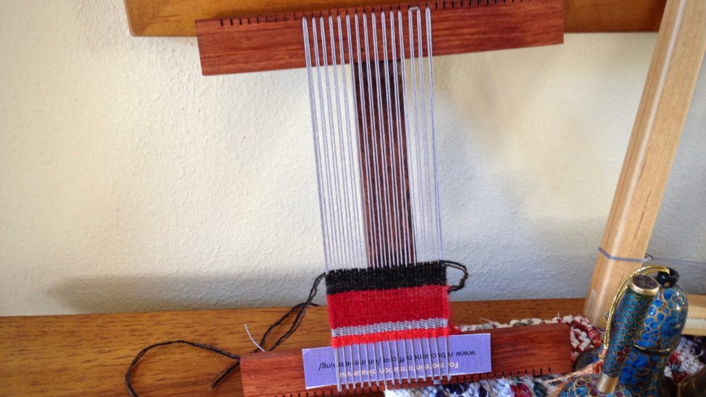Practice piece on little Hokett loom.