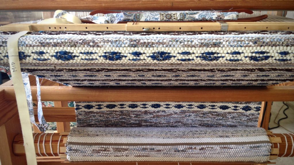 Swedish rosepath rag rug on the loom. Rug in March/April 2017 Handwoven.