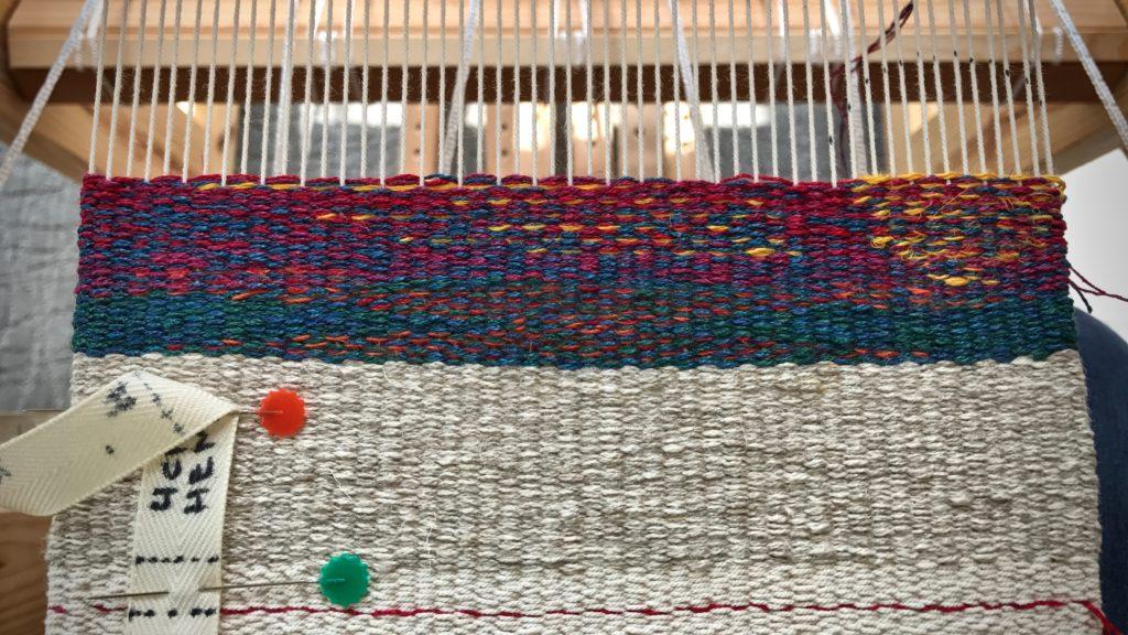 Beginning of linen tapestry sampler.