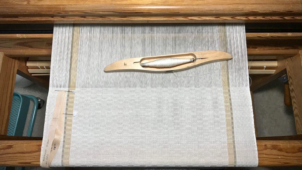 M's and O's long table runner. Linen weft.