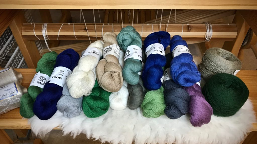 Collection of colors in Mora wool for a transparency.