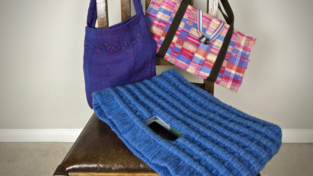 Handwoven handbags.