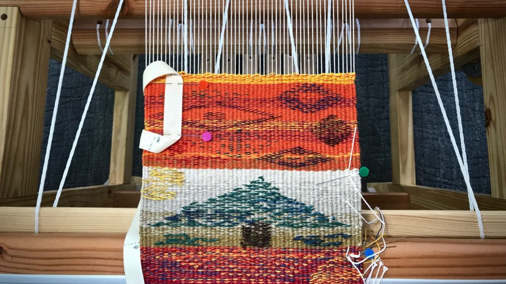 Tapestry and inlay sampler with linen weft.