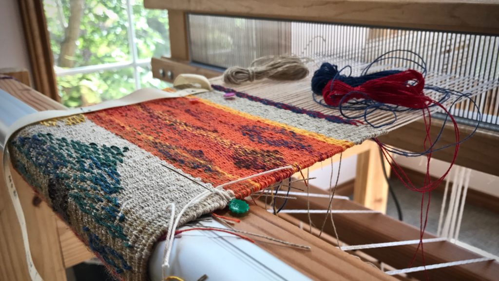 Loom with a view. Linen tapestry/inlay sampler.