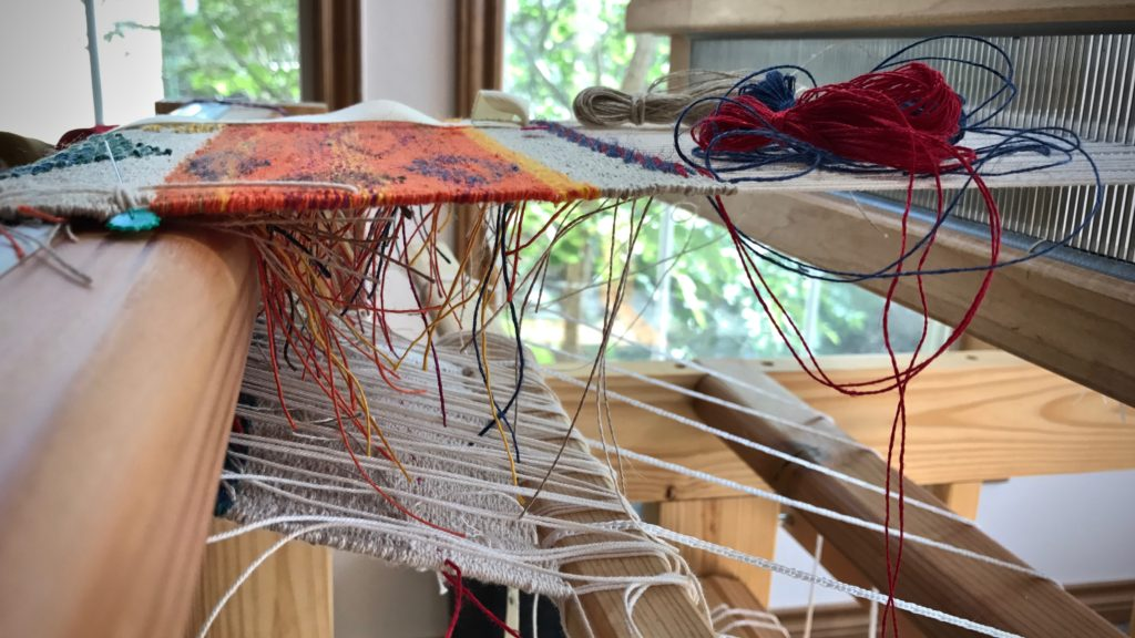 Threads on the underside. Tapestry / inlay sampler in linen.