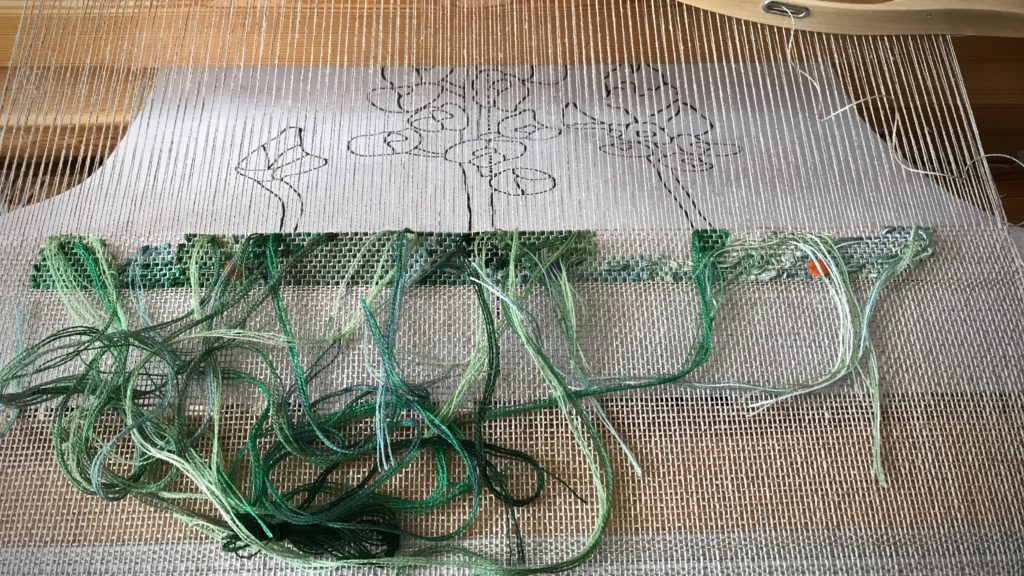 Starting a woven transparency. Texas bluebonnets!