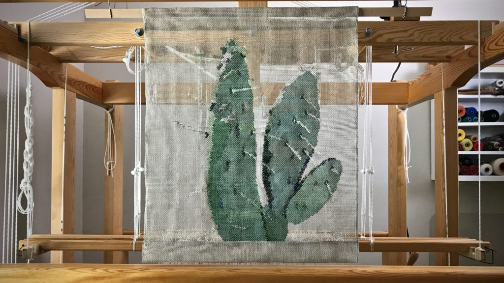 Woven transparency. Prickly Pear Cactus. Karen Isenhower