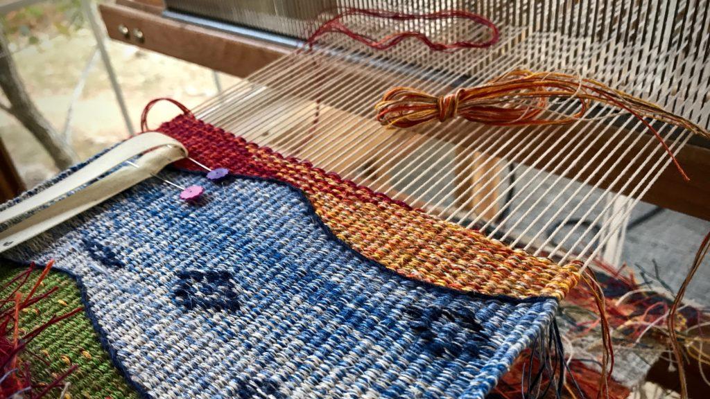 Linen tapestry/inlay sampler.