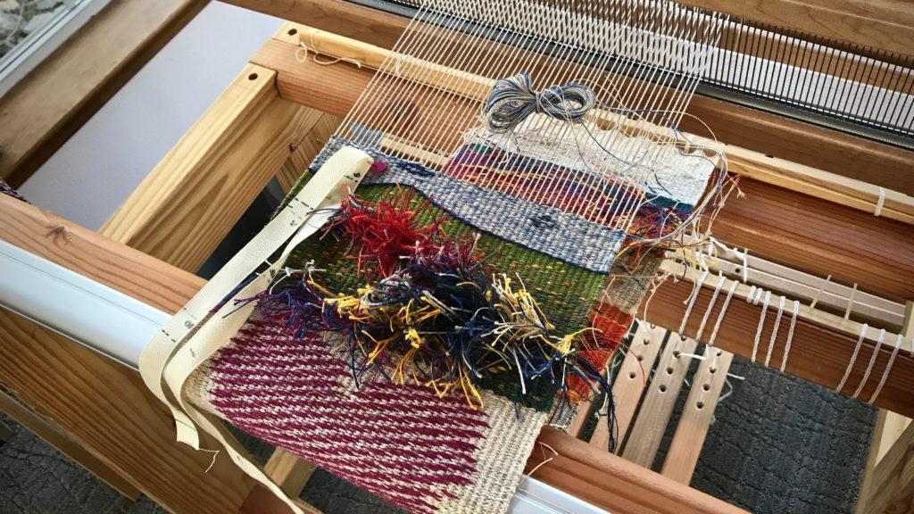 Tapestry / inlay sampler. All linen.