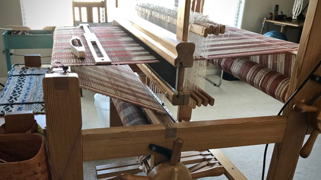 Rag rug on the loom. Spaced rep.