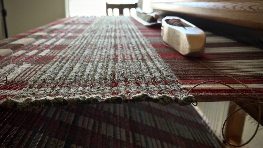 Wool weft rag rugs.