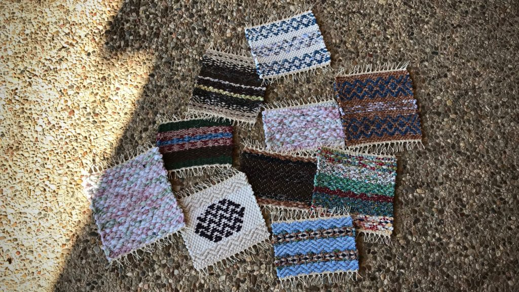 Finished handwoven rag rug hot pads.