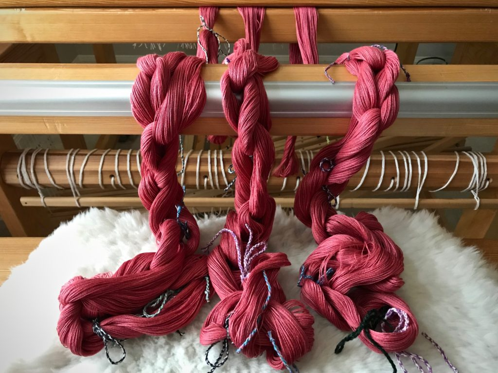 Three warp chains of 8/2 cotton, ready to dress the loom!