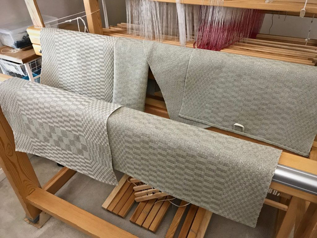 Handwoven set of linen satin dräll towels. Karen Isenhower