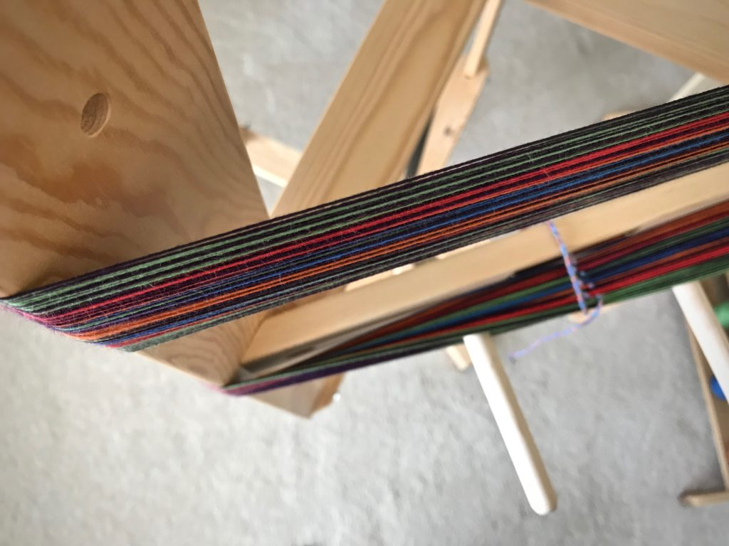 Winding a cotton warp.