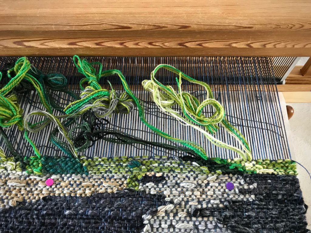 Practicing technique for a new tapestry on the Glimakra Ideal loom.